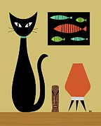 Mid Century Lamp Posters - Cat on Tabletop Poster by Donna Mibus