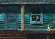 Colored Pencil Metal Prints - Cat on the Porch Metal Print by J Ferwerda