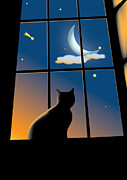 White Frame House Digital Art Prints - Cat On The Window Print by Aleksey Tugolukov