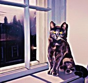 Halifax Art Framed Prints - Cat on Window Sill Framed Print by John Malone