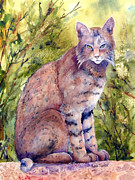 Bobcat Painting Prints - Cat-r-Walling Print by Renee Chastant