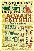 Cat Paw Digital Art Posters - Cat Rules Poster by Jean Plout