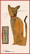 Printmaking Painting Posters - Cat.  Seated orange and gray with straight wiskers. Poster by Cathy Peterson