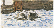 Kitty Painting Posters - Cat Sleeping on a Bed Poster by Claude Monet