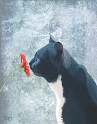 Cat Prints Digital Art Framed Prints - Cat sniffing a flower Framed Print by Kelly McLaughlan