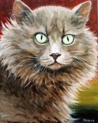 Cat Art Originals - Cat Stare by Dottie Dracos