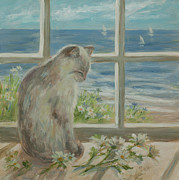 Beach Window Painting Framed Prints - Cat Sunbathing Framed Print by Tina Obrien