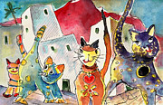 Canary Drawings Prints - Cat Town in Lanzarote Print by Miki De Goodaboom