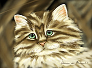 Pets Digital Art Metal Prints - Cat Metal Print by Veronica Minozzi
