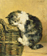 Cat With A Basket Print by Charles Van Den Eycken