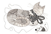 Pants Drawings - Cat with Bow and Checkers by Lou Belcher