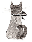 Tie Drawings - Cat with Bow by Lou Belcher