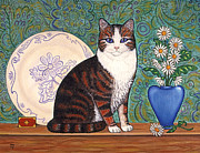 Kittens Paintings - Cat With Daisies by Linda Mears