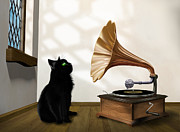 Intrigue Digital Art Framed Prints - Cat with gramophone Framed Print by Paul Fleet