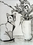 Interior Still Life Drawings Originals - Cat with Palm by Elizabeth  Bogard