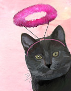 Cat Prints Digital Art Framed Prints - Cat with Pink Halo Framed Print by Kelly McLaughlan