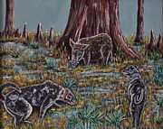 Wild Boar Paintings - Catahoulas on the hunt. by Richard Goohs