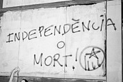 Catalan Prints - Catalan Independencia O Mort Independence Or Death Grafitti In Tarragona Catalonia Spain Print by Joe Fox