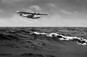 Pby Catalina Posters - Catalina at sea black and white version Poster by Gary Eason