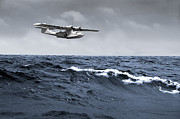 Pby Catalina Posters - Catalina at sea Poster by Gary Eason