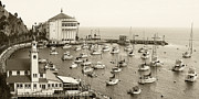 Sepia Toned Acrylic Prints - Catalina Island. Avalon by Ben and Raisa Gertsberg