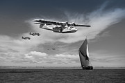 Flying Boat Posters - Catalina search and rescue black and white version Poster by Gary Eason