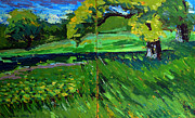 Van Gogh Painting Originals - Catalpa Trees on Jim Raders Pond by Charlie Spear