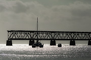 Overseas Railway Framed Prints - Catamaran Anchored At Old Bahia Honda Bridge Framed Print by Ed Gleichman