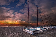 Sunset Scenes. Framed Prints - Catamarans at Sunrise Framed Print by Debra and Dave Vanderlaan