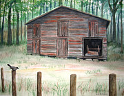 Old Fence Posts Painting Prints - Catbird Barn Print by Martha Kuper Brinson