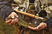 Brown Trout Art - Catch and Release - D001102-b by Daniel Dempster