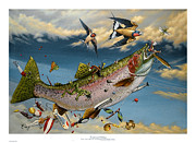 Fishing Flies Paintings - Catch and Release by Philip Slagter