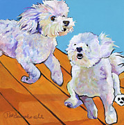 Pat Saunders-white Dog Paintings - Catch Me     by Pat Saunders-White