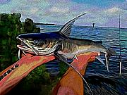 Catfish Mixed Media Prints - Catch Of The Day Print by Karen Sheltrown