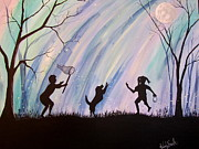 Playing Painting Originals - Catching Fireflies by Wendy Smith