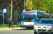L Montreal Paintings - Catching The 161 City Bus Van Horne Montreal Street Scene Summer In Cote Des Neiges Carole Spandau by Carole Spandau