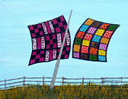 Patchwork Quilts Paintings - Catching the Breeze by Barbara Griffin