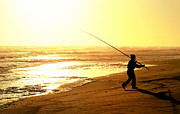Fishing Glass Art Metal Prints - Catching the last rays... Metal Print by A Rey