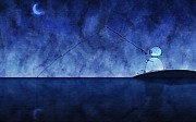 Fishing Posters - Catching the Moon Under Water Poster by Sanely Great