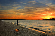 Fishing Poles Posters - Catching the Sunset Poster by Steven  Michael