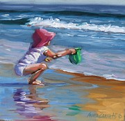 Beach Scene Painting Originals - Catching the Wave by Laura Lee Zanghetti
