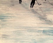 Pond Hockey Paintings - Catching Up by Desmond Raymond