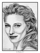 Grey Drawings Framed Prints - Cate Blanchett in 2007 Framed Print by J McCombie