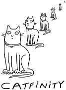 Funny Prints Drawings Prints - Catfinity Print by Molly Brandenburg