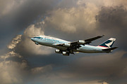 Retraction Posters - Cathay Pacific B-747 Poster by Rene Triay Photography