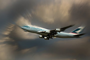 Retraction Posters - Cathay Pacific B-747 Speed Poster by Rene Triay Photography