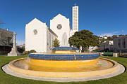 Anglican Photos - Cathedral and Tait Fountain Napier New Zealand by Colin and Linda McKie