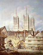 Turner Framed Prints - Cathedral church at Lincoln 1795 Framed Print by Joseph Mallord William Turner