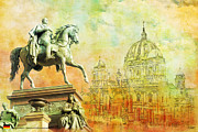 Statue Painting Prints - Cathedral de Berlin Print by Catf