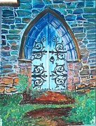 Iron  Pastels Posters - Cathedral Door in Brecon  Poster by Frank Giordano